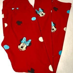 Lularoe Girls L/XL Minnie Mouse Polka Dot Leggings